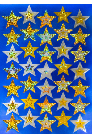 Gold Stars - Foil Stickers (Pack of 105)