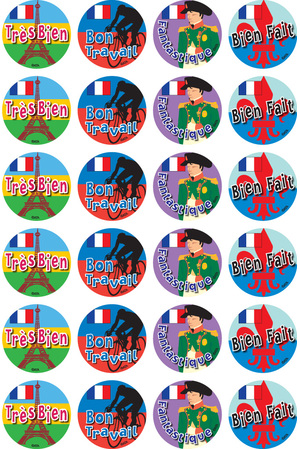 French - Language Merit Stickers (Pack of 96)