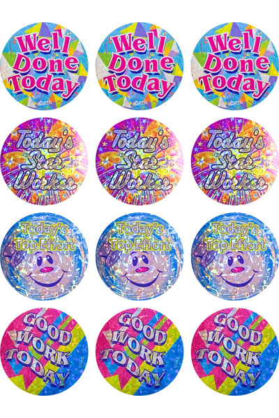 Today's Top Worker Holographic (40mm) - Large Merit Stickers (Pack of 48)