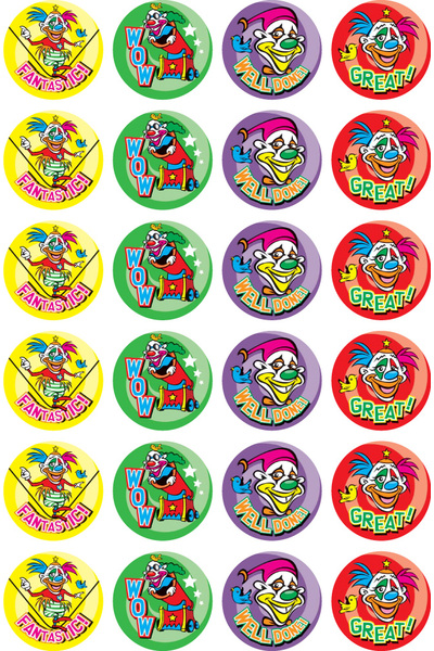 Clowns in Town - Merit Stickers (Pack of 96)